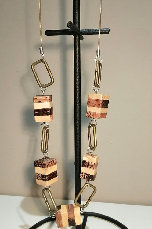 Long Wooden and Gold Metal Necklace