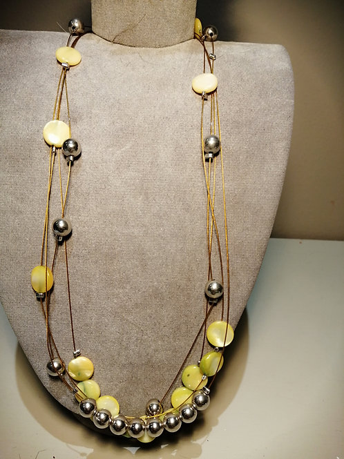 Gold Multi Wire Yellow Disc and silver balls necklace