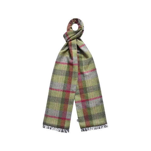 Tweed Scarf with Velvet trim in Stone Moss