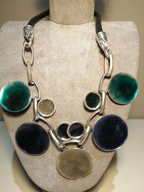 Heavy Blue, Green, Grey Metal Disc Necklace