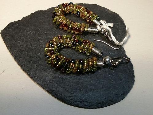 Beaded Green Based Earrings