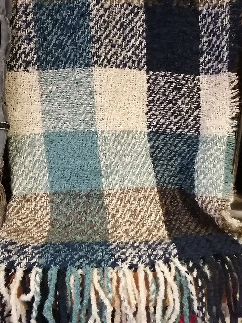 Large Cosy Checked Scarf in Navy, Cream and Teal