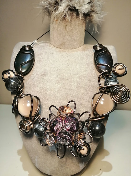 Chunky Statement Necklace with Wire and Large Beads