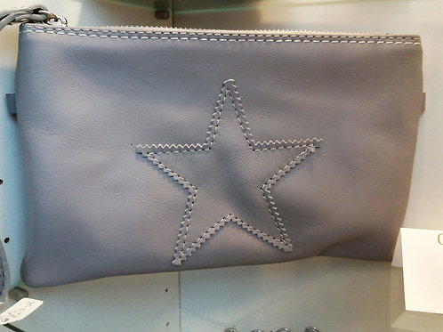Grey leather clutch bag with star
