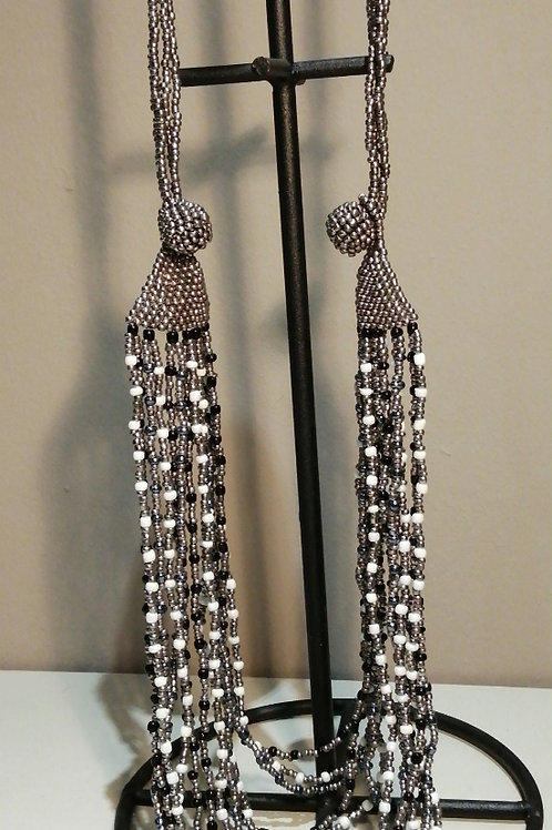 Long, Heavy Silver, White and Black Multi-strand Chain Necklace