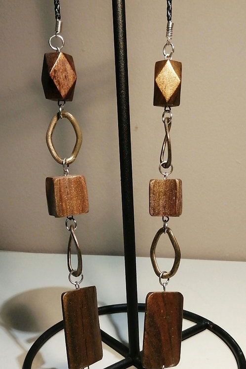 Gold Metal and Bronze Wooden Beaded Long Necklace