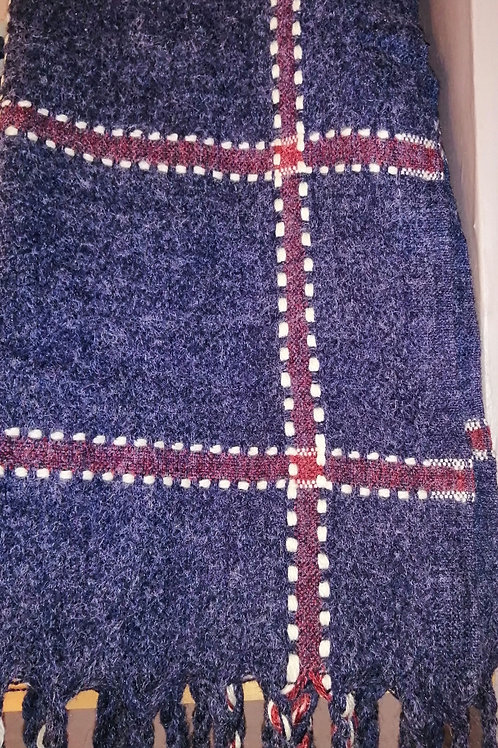Blue and burgandy large cosy scarf