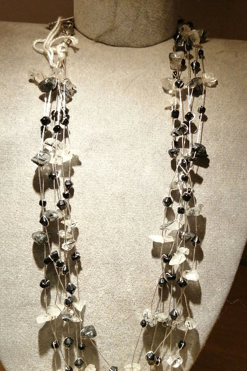 black and white multi-strand bead necklace