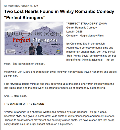 """Two Lost Hearts Found in Wintry Romantic Comedy """"Perfect Strangers"""""""