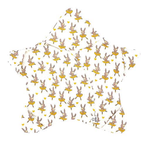 Hellbeige mit gelben Glitzer-Hasen