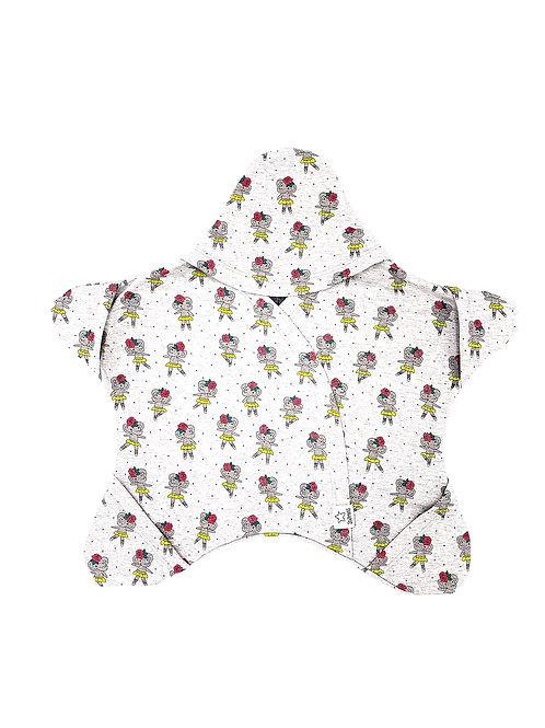 Hellgrau mit tanzenden Elefäntchen