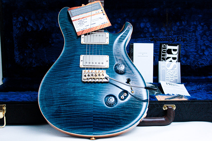 """PRS USA Paul Reed Smith Wood Library 58/15 Custom 24 10-Top """"River Blue + Rosewo"""