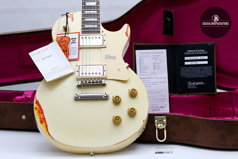 "GIBSON USA Custom Shop Les Paul 1958 R8 Aged ""Classic white over Cherry Sunburst"