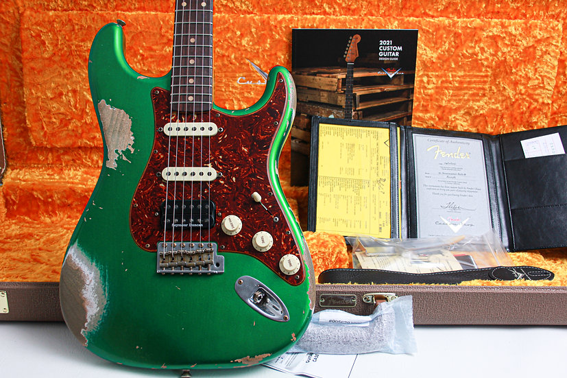 """FENDER USA Custom Shop 1962 Heavy Relic HSS Stratocaster """"Candy Lime Green + Map"""