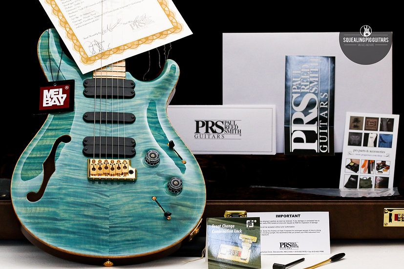 """PRS USA Paul Reed Smith Private Stock 513 Semi-Hollow """"Turquoise + Curly Maple"""""""