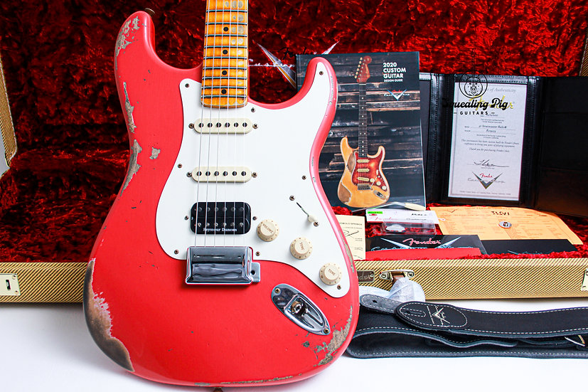 "FENDER USA Custom Shop 1956 Heavy Relic HSS ""Fiesta Red + Maple"" (2021)"