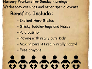 Church Nursery Workers Wanted