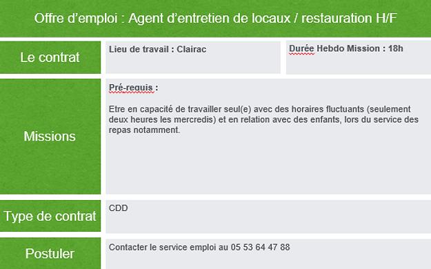 Offre D Emploi Agent D Entretien De Locaux Restauration H F
