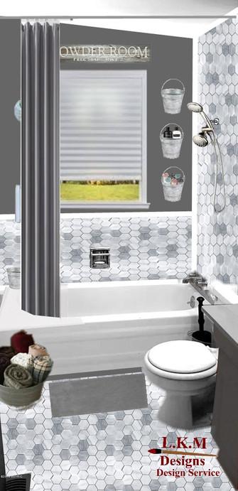 Finished bath room gray curtain.jpg