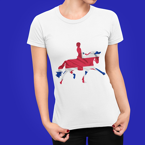 Dressage Horse Unisex T-Shirt - British Flag