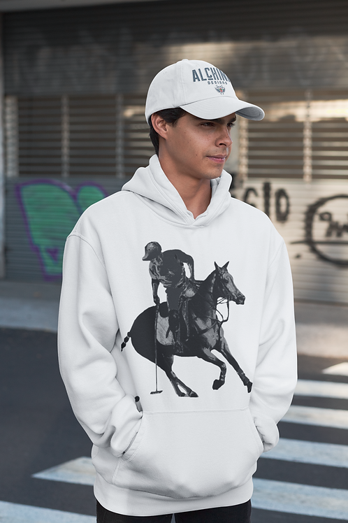 Grey Polo Player Hoodie