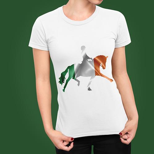 Dressage Horse Unisex T-Shirt - Irish Flag