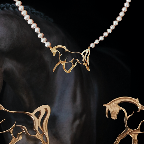 Gold Open Horse Pendant on Pink Fresh Water Pearls