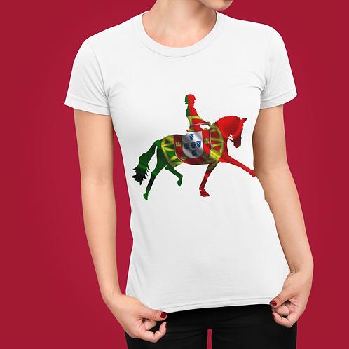 Dressage Horse Unisex T-Shirt - Portuguese Flag
