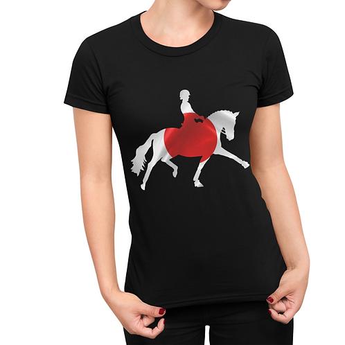 Dressage Horse Unisex T-Shirt - Japanese Flag