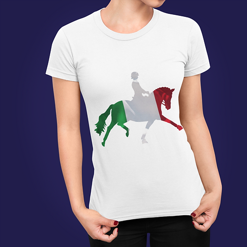 Dressage Horse Unisex T-Shirt - Italian Flag