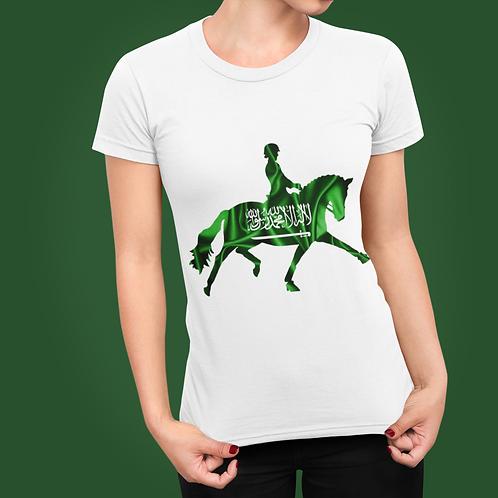 Dressage Horse Unisex T-Shirt - Saudi Arabian Flag