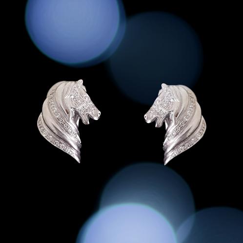 White Gold and Diamond Horse Head Earrings
