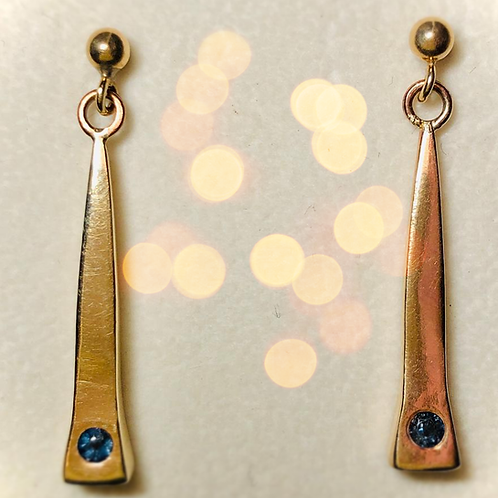 Small Nail Drop Earrings with Sapphires