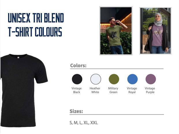 Unisex Tri Blend T-Shirt Colours