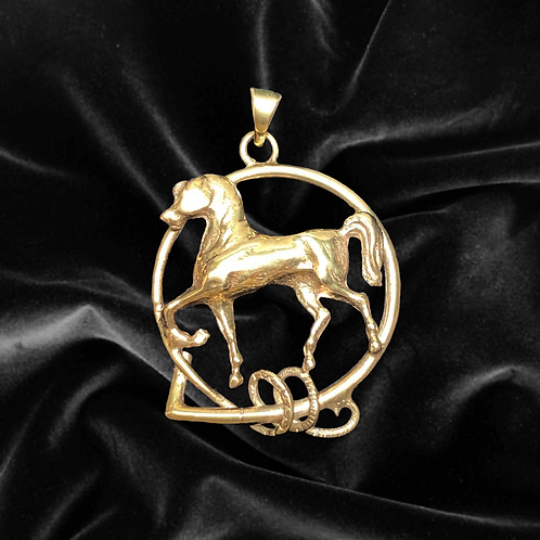 Gold Horse in Whip Pendant