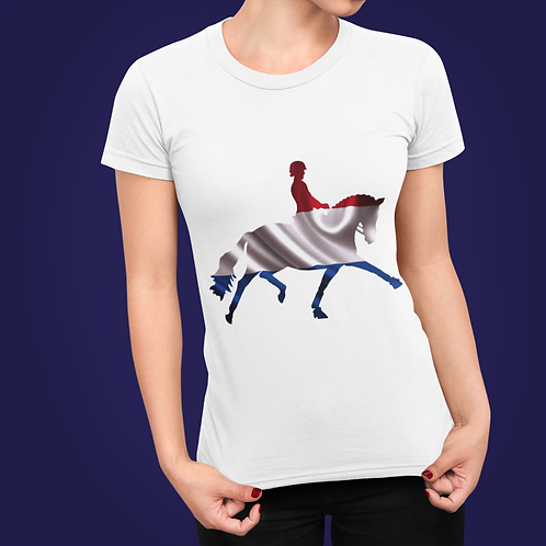 Dressage Horse Unisex T-Shirt - Netherlands Flag