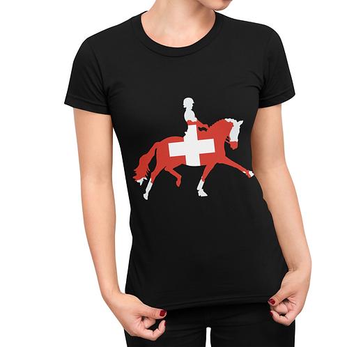 Dressage Horse T-Shirt - Switzerland Flag