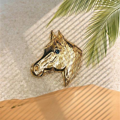 Gold Arabian Head with Sapphire Eye
