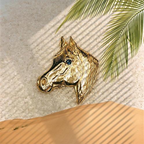 Gold Arabian Head with Sapphire Eye