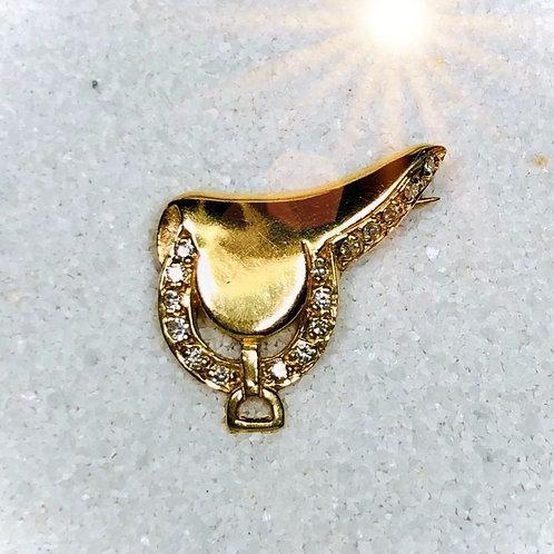Gold Saddle Boach with Diamonds