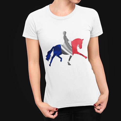 Dressage Horse Unisex T-Shirt - French Flag