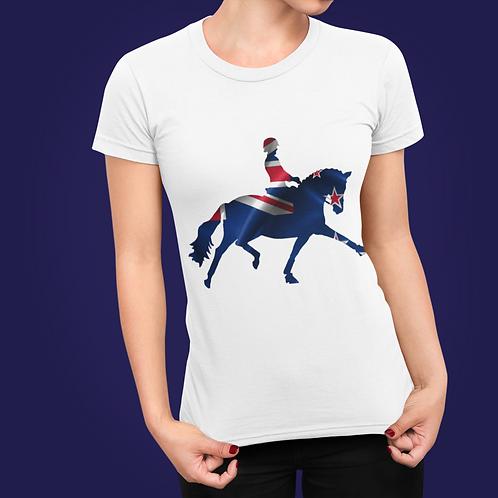 Dressage Horse Unisex T-Shirt - New Zealand Flag