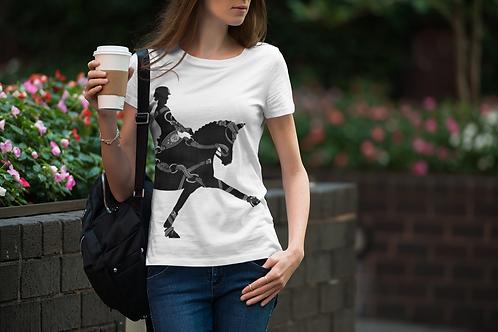 Grey Bridled Black Dressage Horse