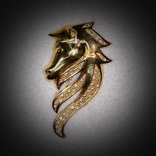 Gold and Diamond Arabian Horse Head Pendant