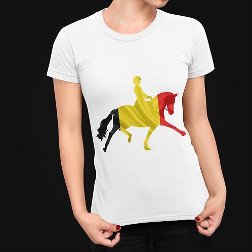 Dressage Horse Unisex T-Shirt  - Belgium Flag