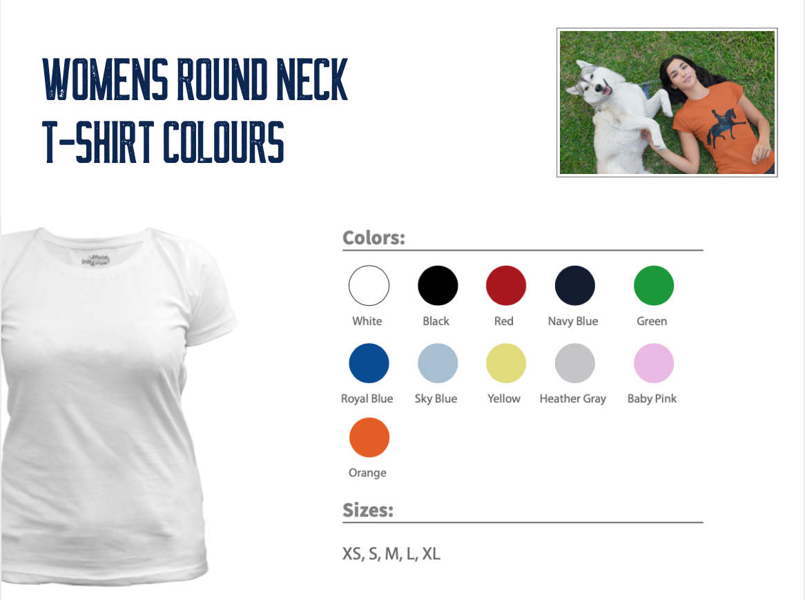 Womens Round Neck T-Shirt Colours