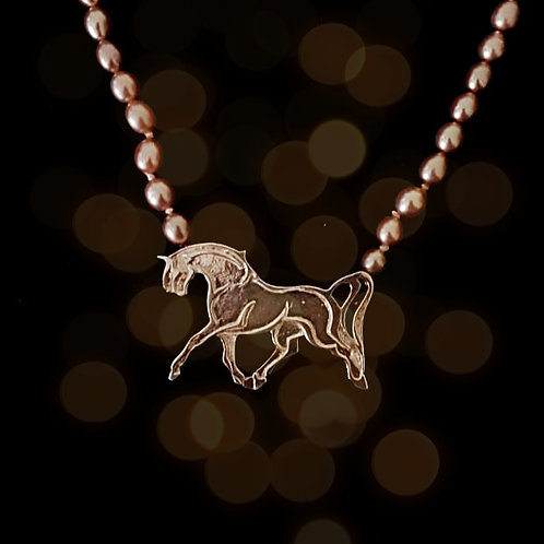 Silver Arabian Horse on Pink Fresh Water Pearls