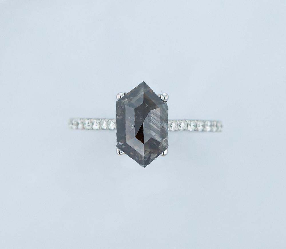Black salt and pepper diamond ring