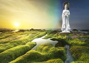 Avalokiteshvara statue overlooking green but empty  landscape