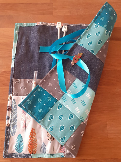 Patchwork Knitting Needle Roll - Teal Feathers
